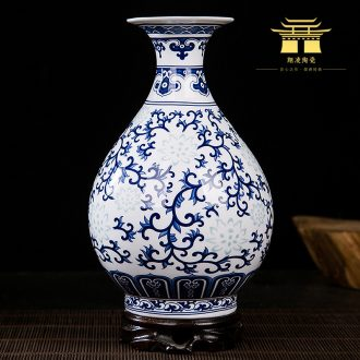 Blue and white and exquisite flower arranging bone porcelain of jingdezhen ceramics thin foetus floret bottle of modern Chinese style sitting room adornment is placed