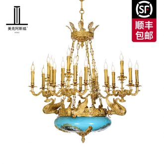 French Italian pure copper ceramic chandeliers european-style luxury living room bedroom marble palace art light colored enamel