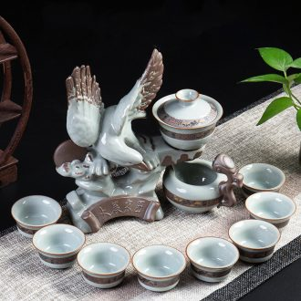 Ronkin elder brother kiln creative lazy tea set suit household kung fu tea cups contracted half automatic ceramic teapot
