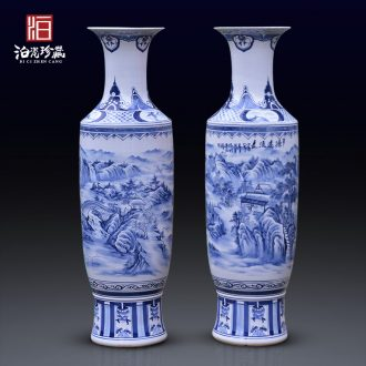 Jingdezhen blue and white ceramics archaize floor big vase hotel villa living room for the opening of new Chinese style decoration furnishing articles