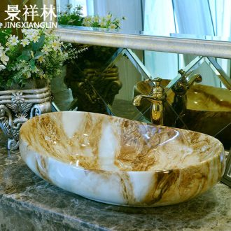 Marble basin of continental stage ceramic lavabo lavatory household toilet basin that wash a face the oval art basin
