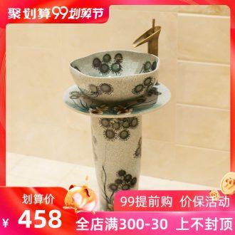 M beautiful hand-painted pillar basin ceramic art basin sink basin elegant dandelion