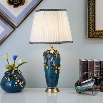 New Chinese style full copper enamel lamp sitting room the bedroom the head of a bed artical luxurious ceramic crystal glass lighting
