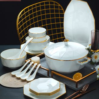 Nordic bone bowls disc suit white contracted jingdezhen ceramic tableware phnom penh octagon home dishes bulk