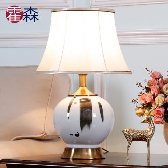 New Chinese style bedroom berth lamp of blue and white porcelain ceramic classical zen restoring ancient ways to decorate the sitting room sofa tea table lamp