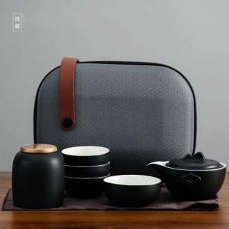 Bo yiu portable bag type vehicle travel time ceramic tea set is contracted to crack cup a pot of two cups of tea pot teapot