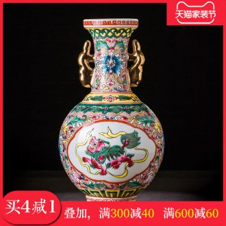 Jingdezhen ceramic antique colored enamel vase flower arranging Chinese sitting room adornment rich ancient frame furnishing articles handicraft restoring ancient ways