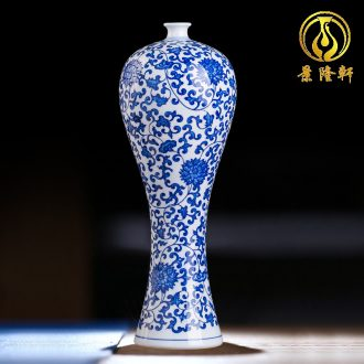 Antique vase of blue and white porcelain of jingdezhen ceramics flower arranging new Chinese style household act the role ofing is tasted the sitting room porch place process