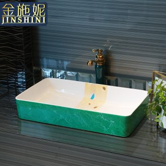 Gold cellnique square household ceramics basin stage basin sink marble balcony toilet art basin