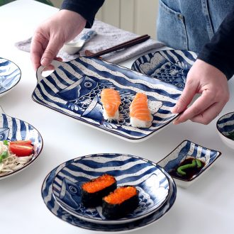 Ceramic bowl home 0 to restore ancient ways the Japanese fish of plate under the jingdezhen ceramic glaze color all the hand-painted tableware