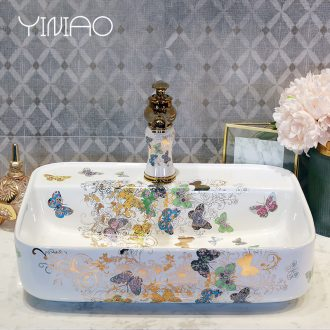 Million birds sinks on the ceramic basin sink rectangular ceramic art basin home European water basin
