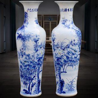 Jingdezhen blue and white ceramics hand-painted peony landing big vase home sitting room adornment hotel furnishing articles