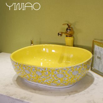 Million birds stage basin sink basin ceramic lavatory basin oval round art basin household the pool that wash a face