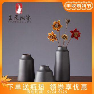 Sitting room is contracted black ceramic vase modern flower arrangement porch place jingdezhen bedroom adornment dried flower vase