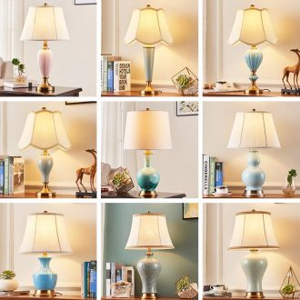 Ceramic lamp lamp of bedroom the head of a bed American contracted marriage room sweet romance restoring ancient ways of contemporary sitting room adornment lamps and lanterns
