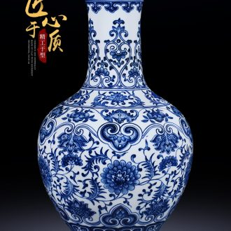 Jingdezhen ceramic antique hand-painted large blue and white porcelain vase furnishing articles flower arranging new Chinese style living room porch decoration decoration