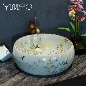 Million birds stage basin sink ceramic lavatory circle art basin bathroom wash face basin crack of flowers and birds
