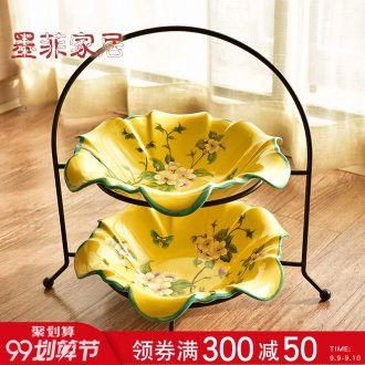 American country ceramic double murphy fruit bowl sitting room tea table of new Chinese style household, wrought iron nuts, snack plate