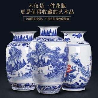Blue and white porcelain vases, jingdezhen ceramics hand-painted youligong of blue and white porcelain vase furnishing articles furnishing articles rich ancient frame sitting room