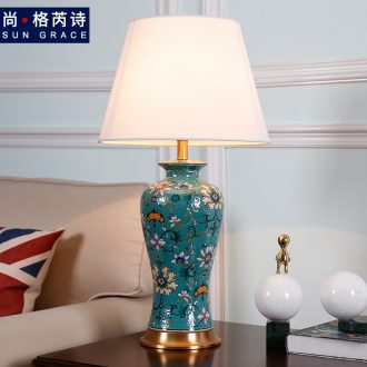 American whole copper ceramic desk lamp sitting room bedroom berth lamp warm new Chinese style restoring ancient ways of Chinese zen wind decoration
