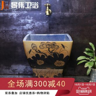 Retro mop pool ceramic mop pool courtyard balcony square mop pool toilet set control automatic mop basin
