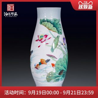 Jingdezhen ceramics hand-painted pastel plug landing big vase dry flower arranging new sitting room of Chinese style household furnishing articles with a gift