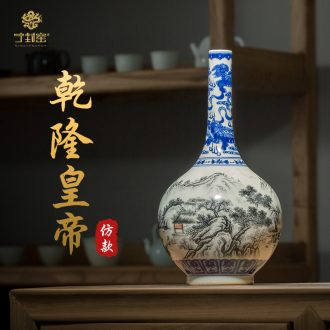 Better sealed kiln porcelain of jingdezhen ceramic floret bottle furnishing articles sitting room of Chinese style restoring ancient ways is rich ancient frame blue and white porcelain antique