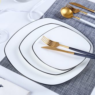 Tableware plate plate of northern wind creative black and pure white steak dinner plate household ceramics tableware Fang Pingpan