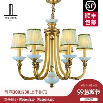 All copper pendant European ceramic lamp sitting room dining-room lamp creative atmosphere bedroom high-grade luxury villa copper lamp
