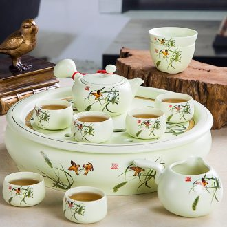 Home of kung fu tea tea tea set office high-grade jingdezhen ceramic teapot teacup of a complete set of ground