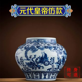 Better sealed kiln jingdezhen ceramic guiguzi down large Chinese blue and white porcelain is general furnishing articles can rich ancient frame porcelain