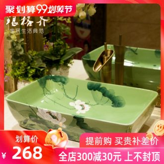 Koh larn, neat hand-drawn square stage basin ceramic lavabo art of the basin that wash a face basin sinks green lotus