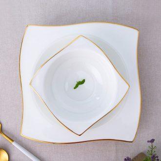 Jingdezhen ceramic tableware bone porcelain 0 home square Jin Bianshang dish plate of pasta place the child desk tray