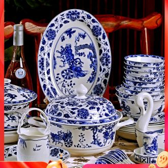 Fire color yuan blue and white porcelain antique dishes set chopsticks tableware suit household jingdezhen porcelain of high-grade ceramic composite bone