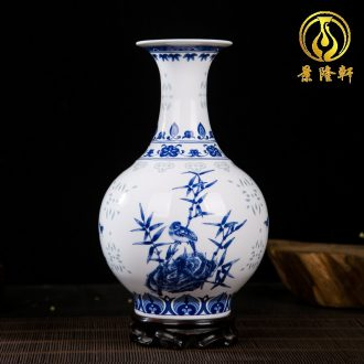 Jingdezhen ceramics and exquisite painting of flowers and blue and white porcelain vase household adornment of contemporary and contracted wine study furnishing articles