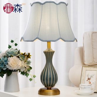Ceramic lamp bedroom full copper lamps and lanterns of American home sitting room TV ark of the head of a bed the study desk lamp light sweet romance