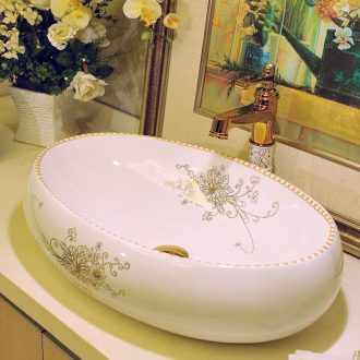 Package mail european-style oblong jingdezhen art basin lavatory sink the stage basin & ndash; Golden flower