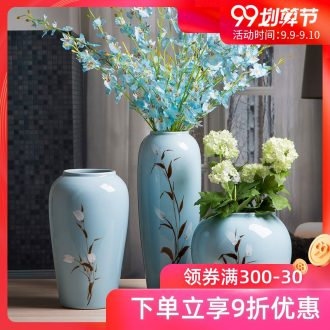 Jingdezhen ceramic vases, flower arrangement sitting room Chinese style household adornment porcelain TV ark place blue pottery vases