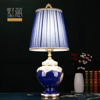 Light luxury european-style lamp ceramic decoration art designer palace restoring ancient ways is the copper lamps and lanterns of the sitting room the bedroom of the head of a bed