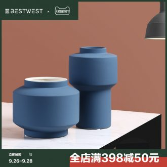 BEST WEST morandi color ceramic vase sample room contracted and contemporary soft adornment creative furnishing articles