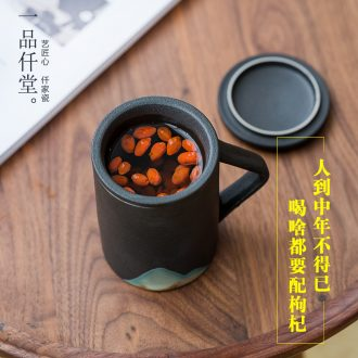Yipin thousand hall tea cup individual household filter tea mugs office separation tank with cover glass