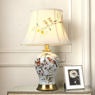 American whole copper ceramic desk lamp LED the study of bedroom the head of a bed is contracted creative painting of flowers and sweet between example chandeliers