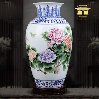 Jingdezhen blue and white ceramics powder enamel vase very beautiful famous hand-painted home sitting room adornment is placed