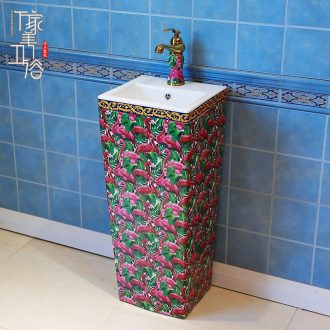 Contracted STDS basin one-piece home ground lavatory ceramic basin of wash one courtyard pillar lavabo balcony