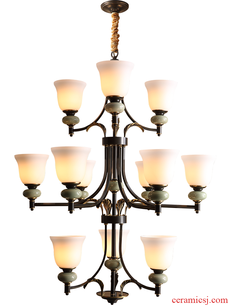 Hilton droplight sitting room lighting atmosphere creative ceramic lamp contracted household whole bedroom lamp copper lamps and lanterns of restaurant