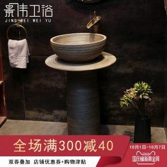 European art basin of pillar type lavatory balcony ceramic pillar lavabo home a whole floor wash gargle