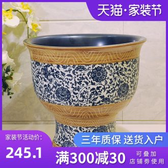 Package mail European pastoral jingdezhen art basin - mop mop pool, mop pool & ndash; Broken blue and white