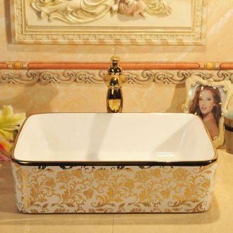 European square stage basin rectangle ceramic household lavatory basin sink sink art basin