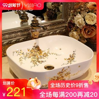 Million birds basin of northern Europe on rectangular lavabo home wash basin art ceramic lavatory basin basin of the balcony