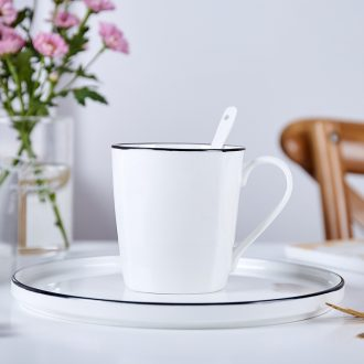Jingdezhen domestic cup pure white cup black border contracted mugs ceramic cup bone porcelain coffee cup milk cup